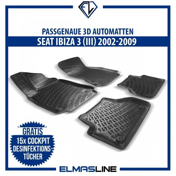 Design 3D Gummimatten Set für SEAT IBIZA 3 (III) 2002-2009