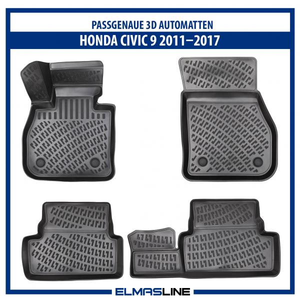 Design 3D Gummimatten Set für Honda CIVIC 9 2011–2017