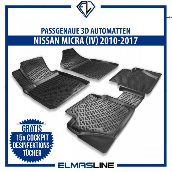 Design 3D Gummimatten Set für NISSAN MICRA IV 4 (MK4) 2010-2017
