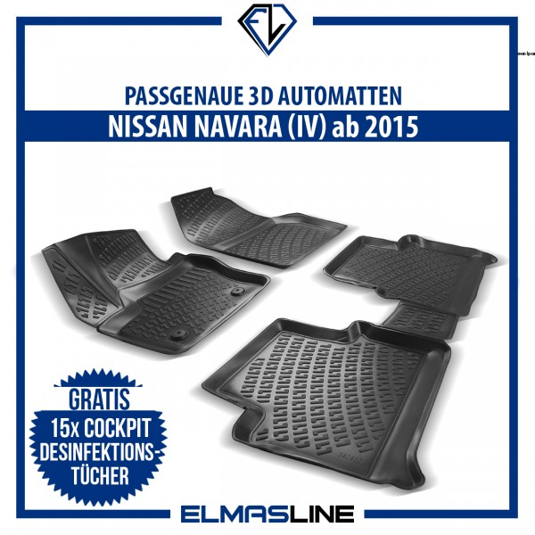 Design 3D Gummimatten Set für NISSAN NAVARA (IV) MK4 ab 2015