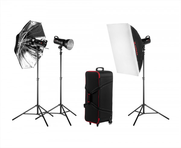 Jinbei DM Studioset Kit 3, TR-V6, Softbox, Reflektoren, Grid, Studioschirm, Stative, Koffer