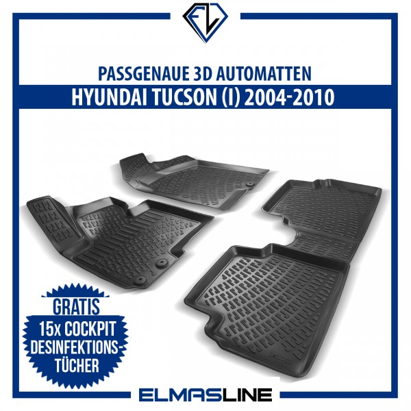 Design 3D Gummimatten Set für HYUNDAI TUCSON (I) 2004-2010