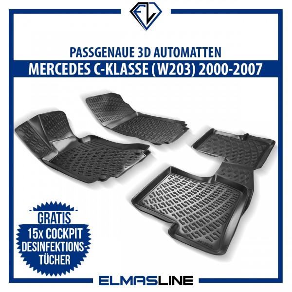 Design 3D Gummimatten Set für MERCEDES C-KLASSE W203 2000-2007