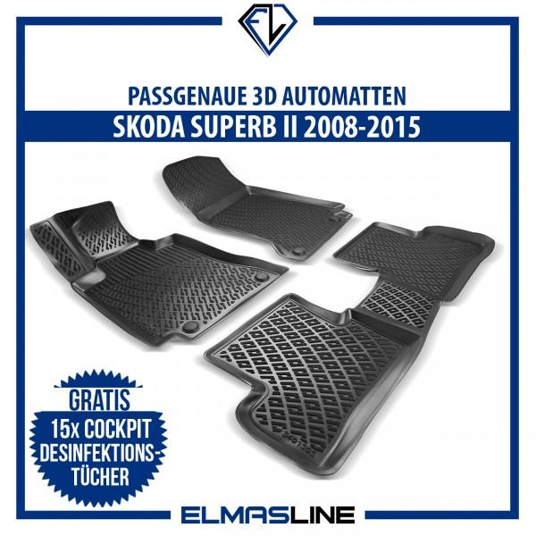 Design 3D Gummimatten Set für SKODA SUPERB II 2008-2015