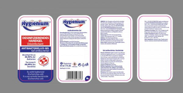 Hygienium Händedesinfektion Hand Desinfektionsmittel 85ml Hygiene Gel Spender