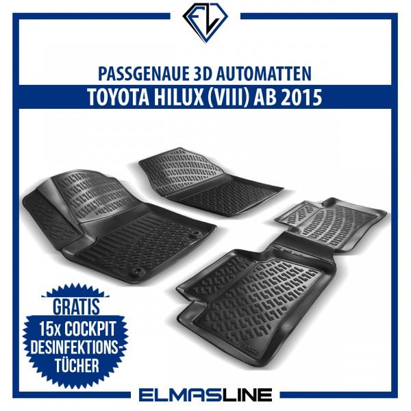 Design 3D Gummimatten Set für TOYOTA HILUX VIII ab 2015