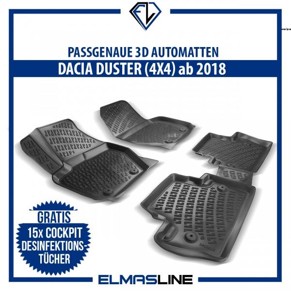 Design 3D Gummimatten Set für DACIA DUSTER 4x4 ab 2018