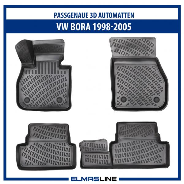 Design 3D Gummimatten Set für VW BORA 1998-2005 | Extra hoher 5cm Rand
