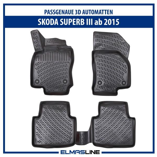 Design 3D Gummimatten Set für SKODA SUPERB III ab 2015