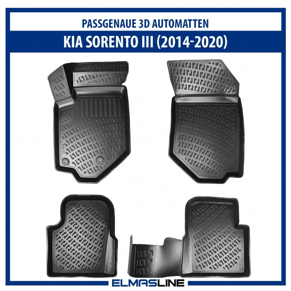 Design 3D Gummimatten Set für KIA SORENTO III 2014-2020