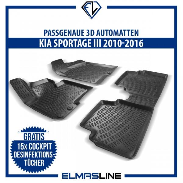 Design 3D Gummimatten Set für KIA SPORTAGE 3 III 2010-2016