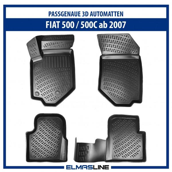 Design 3D Gummimatten Set für FIAT 500 / 500C ab 2007