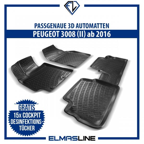 Design 3D Gummimatten Set für PEUGEOT 3008 II ab 2016