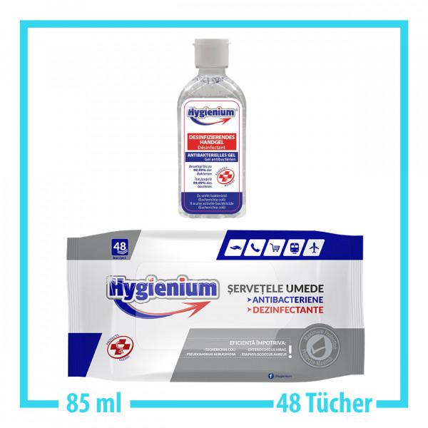 Hygienium 85ml Handgel + 48x Desinfektionstücher