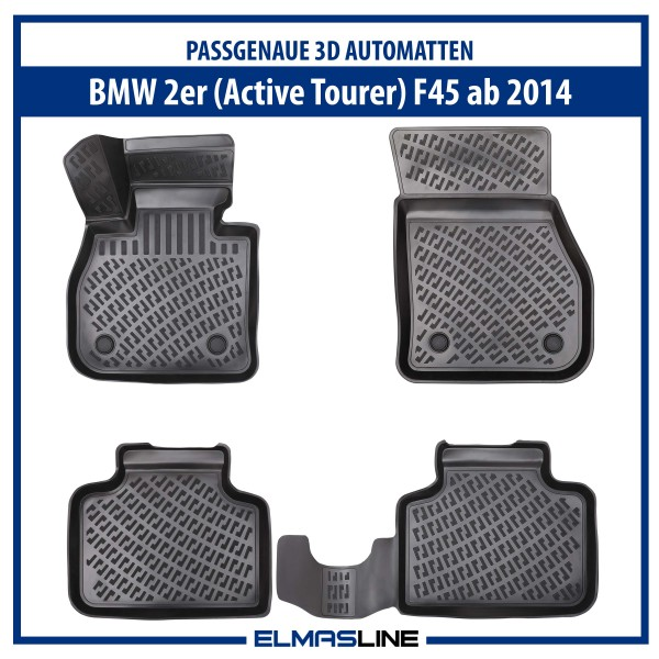 Design 3D Gummimatten Set für BMW 2er Active Tourer (F45) ab 2014