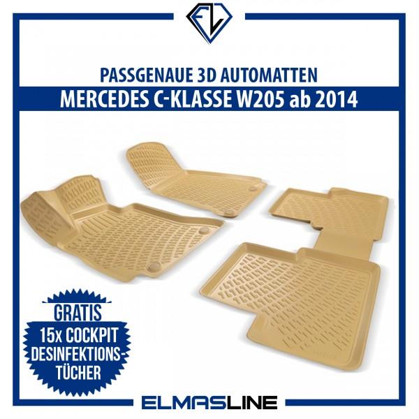 Design 3D Gummimatten für MERCEDES C-KLASSE W205 ab 2014 BEIGE