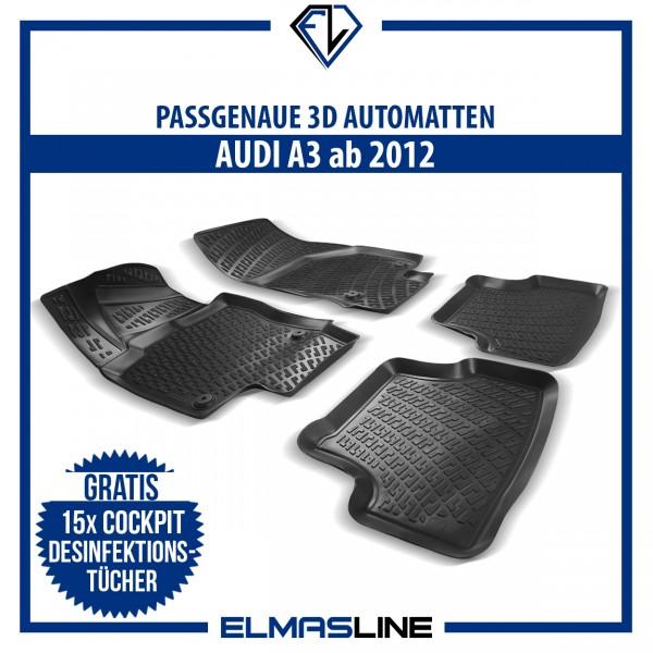 Design 3D Gummimatten Set für AUDI A3 ab 2012