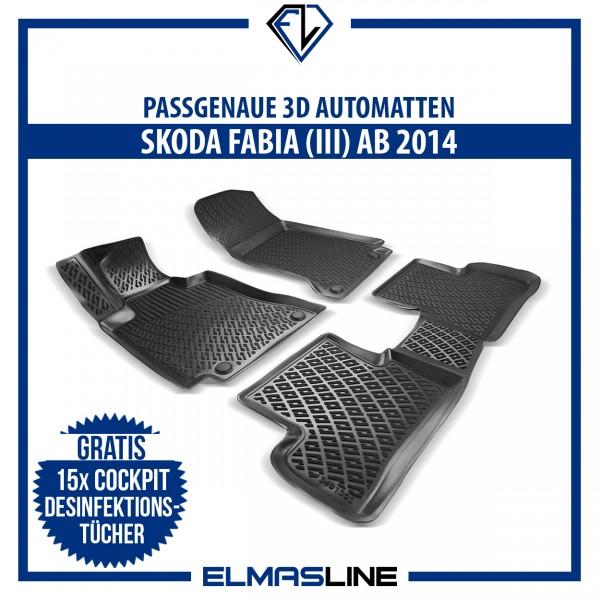 Design 3D Gummimatten Set für SKODA FABIA III ab 2014