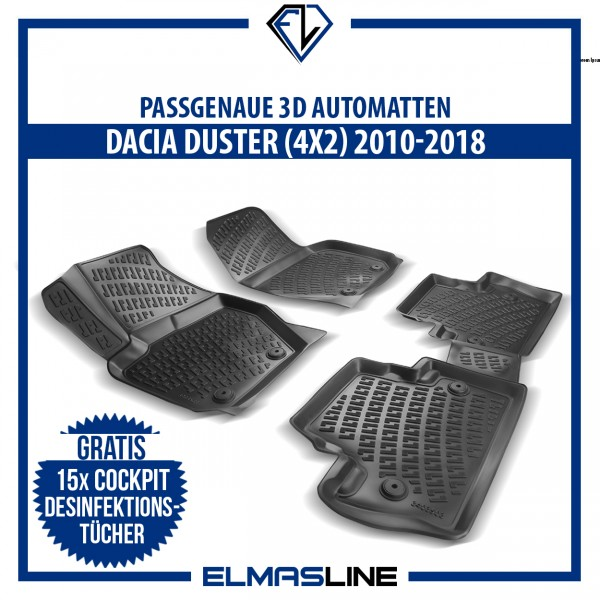 Design 3D Gummimatten Set für DACIA DUSTER 4x2 2010-2017