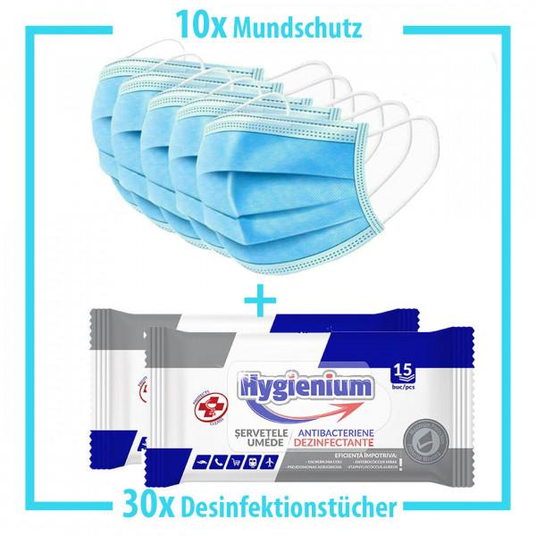10x Mundschutz + 30x Desinfektionstücher