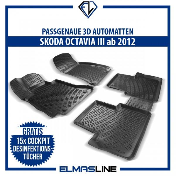 Design 3D Gummimatten Set für SKODA OCTAVIA III ab 2012