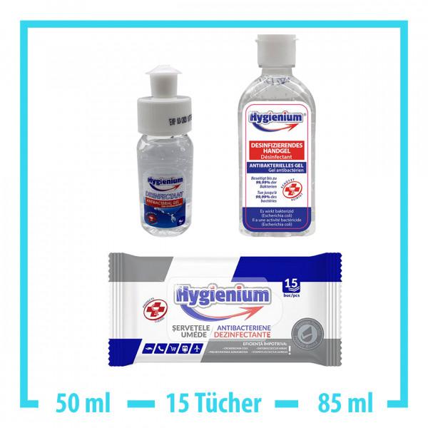 Hygienium 50ml Handgel + 15x Desinfektionstücher + 85ml Handgel