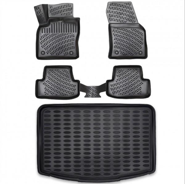 Design Gummimatten & Kofferraumwanne Set für VW Golf 8 (VII) ab 2020 Schrägheck