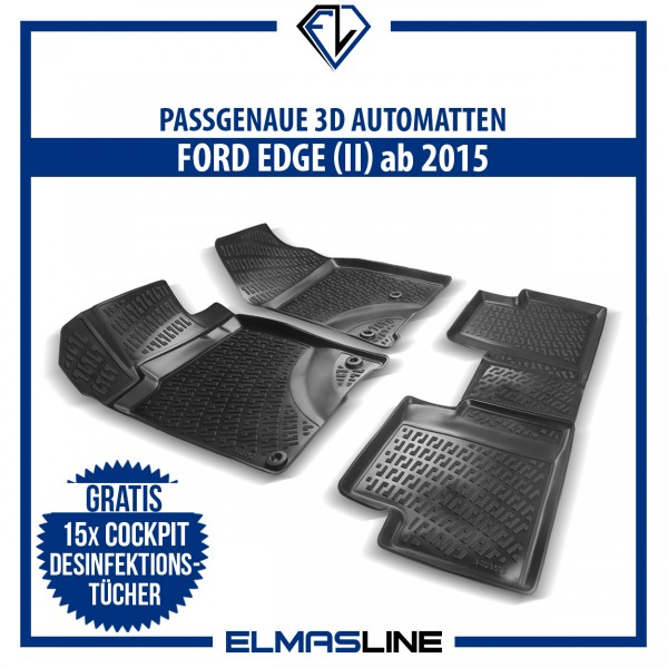 Design 3D Gummimatten Set für FORD EDGE II ab 2015