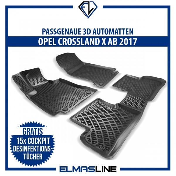 Design 3D Gummimatten Set für OPEL CROSSLAND X ab 2017