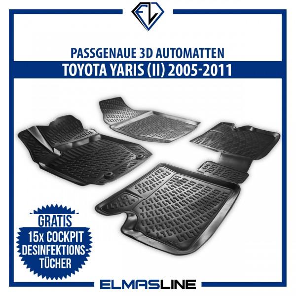Design 3D Gummimatten Set für TOYOTA YARIS (II) 2005-2011