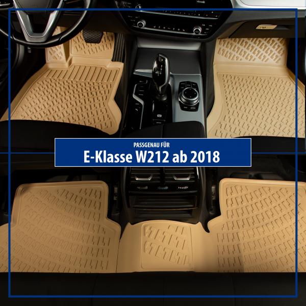 Design 3D Gummimatten Set für MERCEDES E-KLASSE W213 ab 2018 (BEIGE)