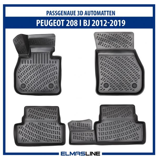 Design 3D Gummimatten Set für PEUGEOT 208 I BJ 2012-2019