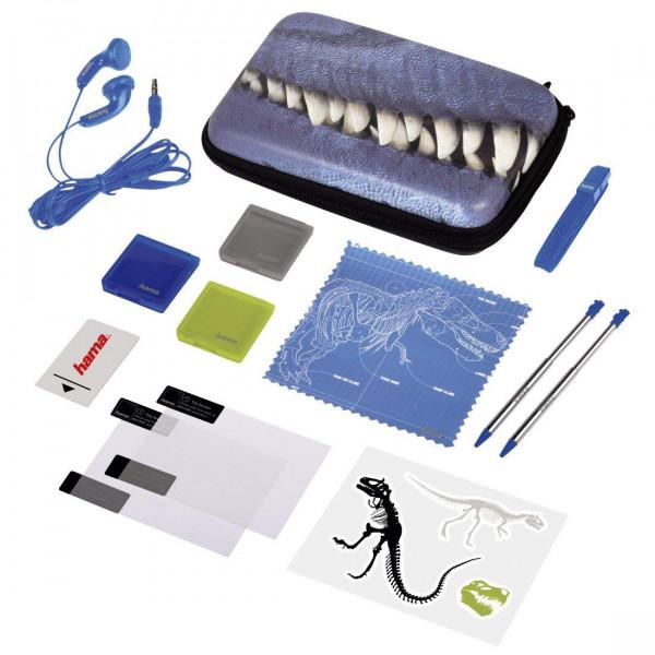 Hama Nintendo 3DS XL Tasche 13in1 Zubehör Paket T-Rex Set New Schutz Folie + Stift