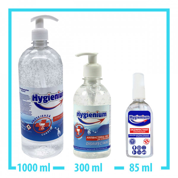Hygienium 1000ml Handgel + 300ml Handgel + 85ml Spray Desinfektionsmittel