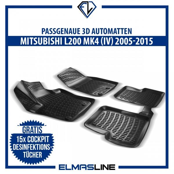 Design 3D Gummimatten Set für MITSUBISHI L200 MK4 IV 2005-2015