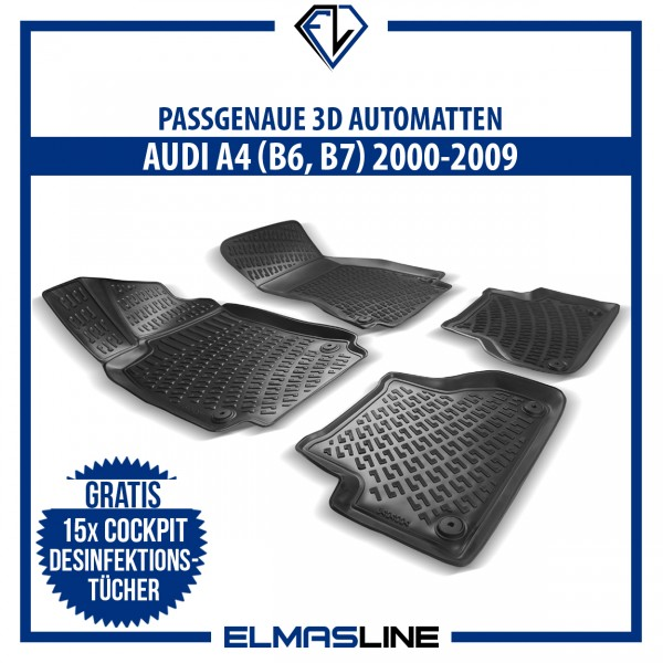 Design 3D Gummimatten Set für AUDI A4 (B6, B7) 2000-2009