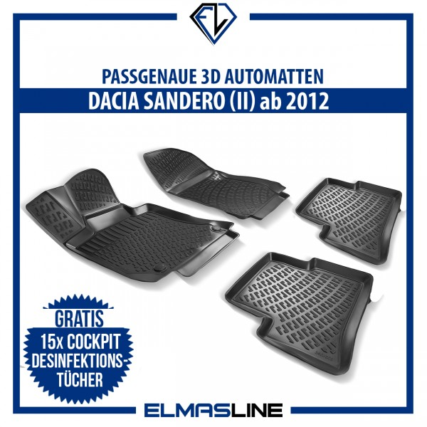 Design 3D Gummimatten Set für DACIA SANDERO (II) ab 2012