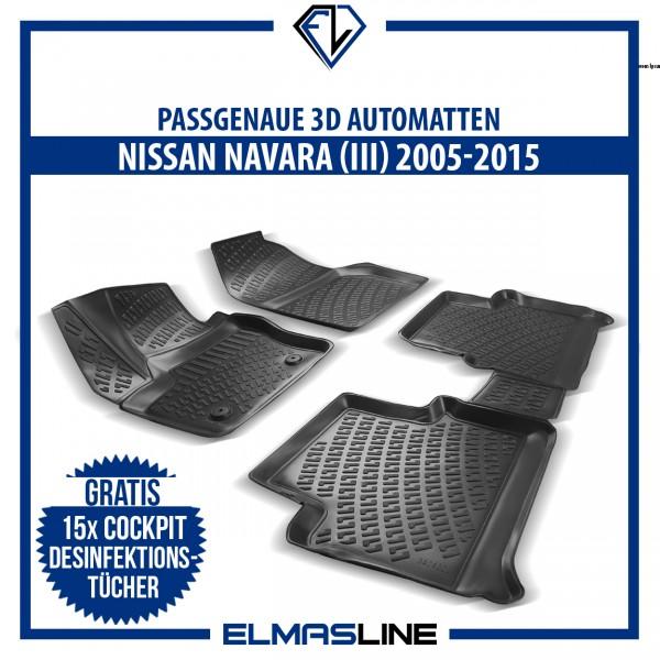 Design 3D Gummimatten Set für NISSAN NAVARA (III) MK3 2005-2015