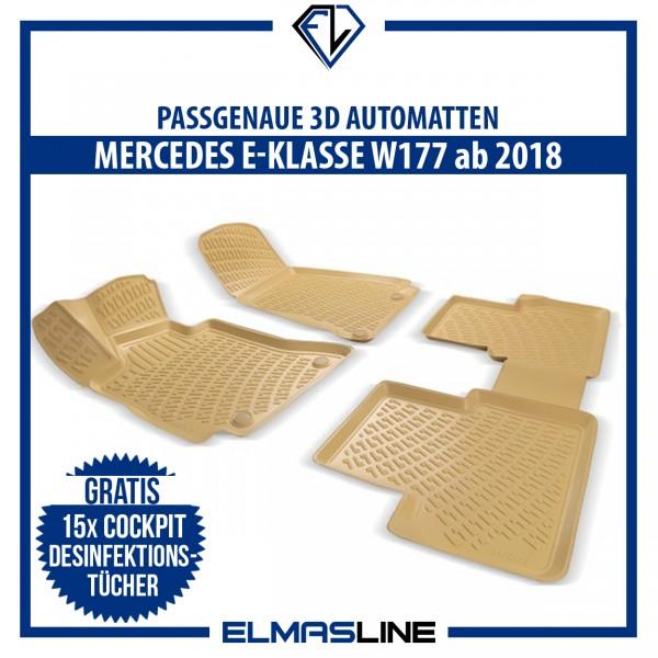 Design 3D Gummimatten Set für MERCEDES E-KLASSE W177 ab 2018 (BEIGE)