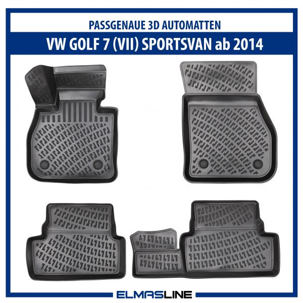 Design 3D Gummimatten Set für VW Golf 7 SPORTSVAN +2014