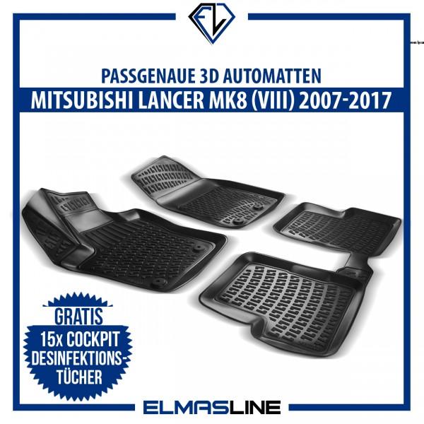 Design 3D Gummimatten Set für MITSUBISHI LANCER MK8 (VIII) 2007-2017