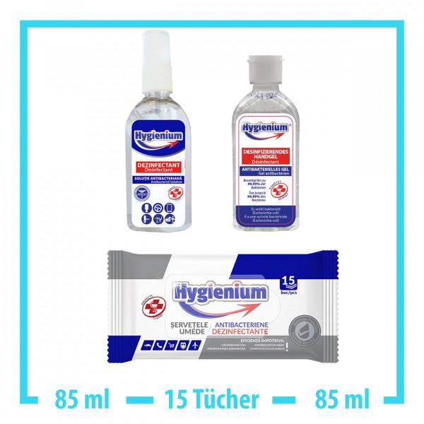 Hygienium 50ml Handgel + 15x Desinfektionstücher + 85ml Spray