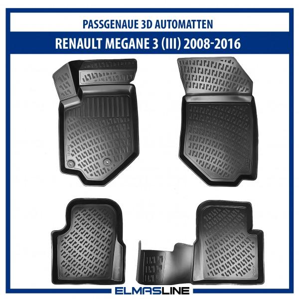 Design 3D Gummimatten Set für RENAULT MEGANE 3 ab 2008-2016 (Schrägheck)