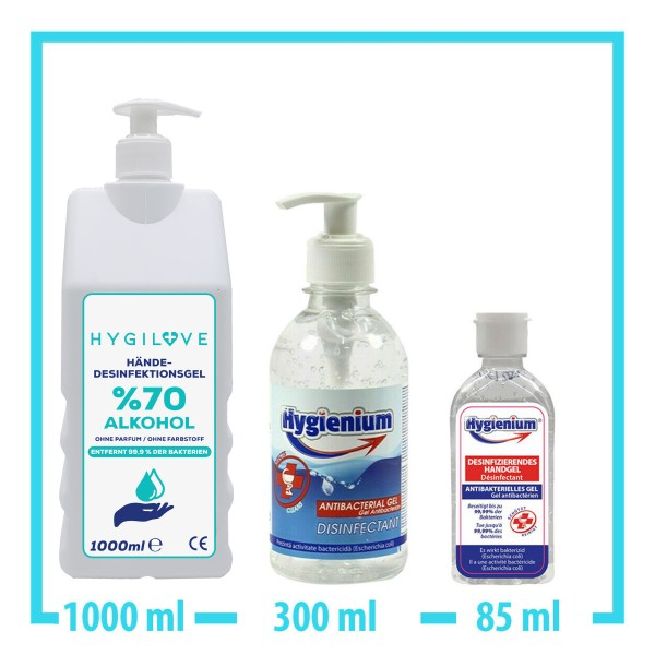 Hygilove 1000ml Handgel + 300ml Handgel + 85ml Handgel Desinfektion Hände