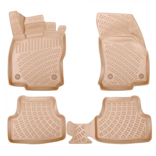 Design 3D Gummimatten Set für MERCEDES C-KLASSE W204 2007-2014 BEIGE