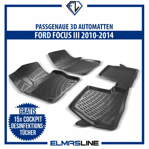 Design 3D Gummimatten Set für FORD FOCUS III MK3 2010-2014