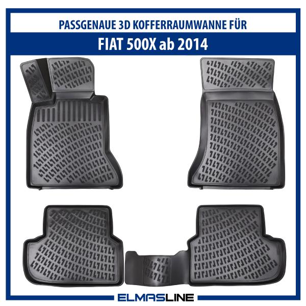 Design 3D Gummimatten Set für FIAT 500x ab 2014