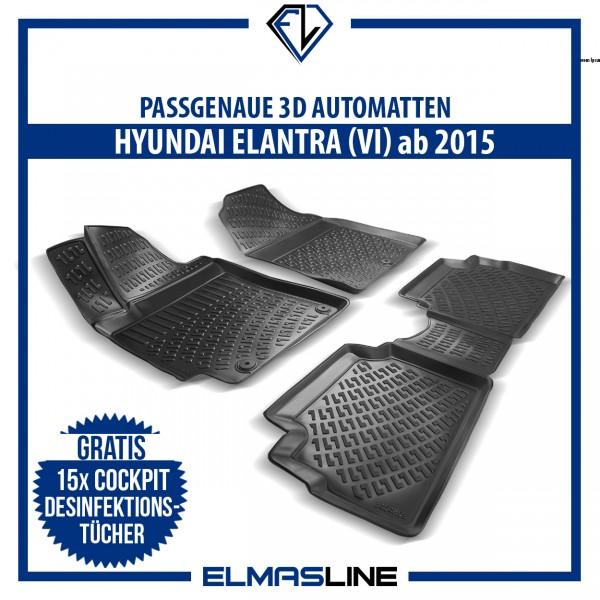 Design 3D Gummimatten Set für HYUNDAI ELENTRA VI (ab 2015)