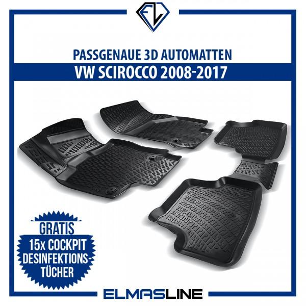 Design 3D Gummimatten Set für VW SCIROCCO 2008-2017