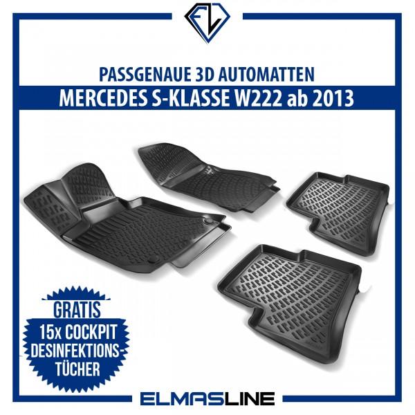 Design 3D Gummimatten Set für MERCEDES S-KLASSE W222 ab 2013
